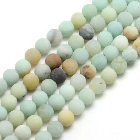 Matiniai Amazonito karoliukų gija, margi, apvalios formos, 8 mm