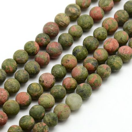 Matiniai unakito karoliukų gija, žalios-rausvos spalvos, 6 mm