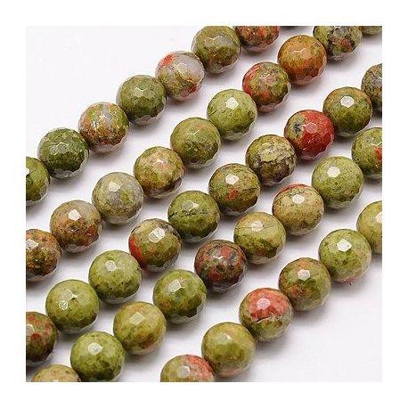 Unakito karoliukų gija, žalios spalvos spalvos, briaunuoti, dydis 10 mm, gijoje apie 38 vnt.