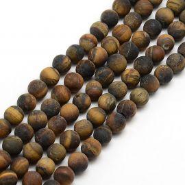 Tigro akies karoliukų gija, rudos spalvos, matiniai, dydis 8 mm, gijoje apie 48 vnt.