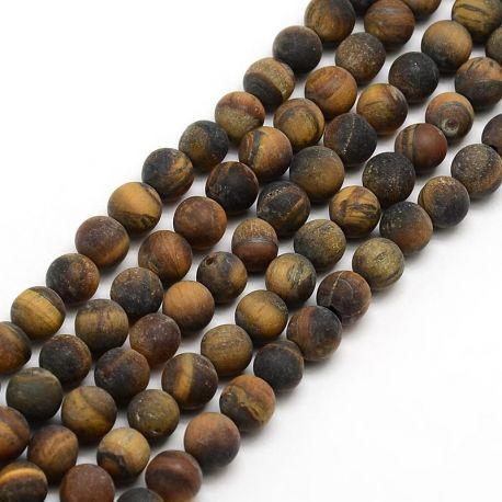 Tigro akies karoliukų gija, rudos spalvos, matiniai, dydis 6 mm, gijoje apie 63 vnt.