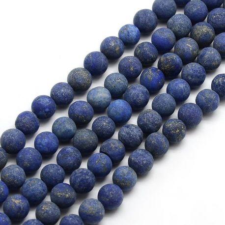 Lapis Lazuli akmens karoliukų gija, mėlynos spalvos, matiniai apvalios formos 6 mm gijoje 63 vnt.