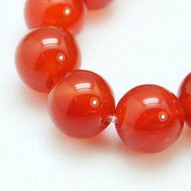 Karneolio akmens karoliukų gija, raudonos spalvos, apvalios formos, 8 mm gijoje 24 vnt.