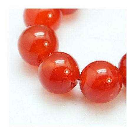 Agato karoliukų gija, raudonos spalvos, apvalios formos 8 mm