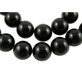 Agato akmens karoliukų gija, juodos spalvos, apvalios formos, 12 mm gijoje 33 vnt.