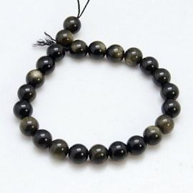 Obsidiano karoliukų gija 8 mm