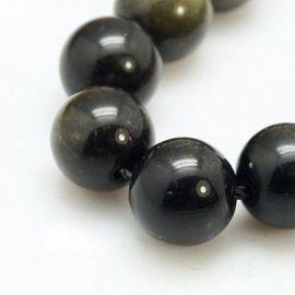 Obsidiano karoliukų gija, samaninės spalvos, apvalios formos 8 mm