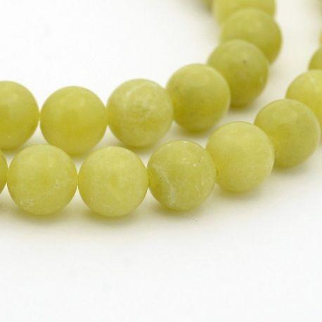 Peridoto akmens karoliukų gija, gelsvai žalios spalvos, apvalios formos, 4 mm gijoje 98 vnt.