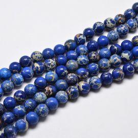 Imperinio Jaspio karoliukų gija, mėlynos spalvos, 6 mm