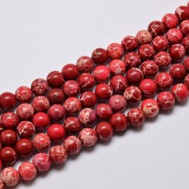 Imperinio Jaspio karoliukų gija, raudonos spalvos, 6 mm