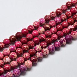 Imperinio Jaspio karoliukų gija, ryškios rožinės spalvos, 6 mm