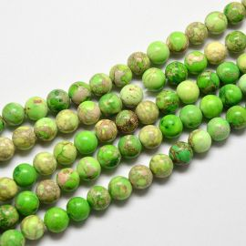 Imperinio Jaspio karoliukų gija, salotinės spalvos, 6 mm