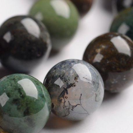 Agato akmens karoliukų gija, žalios, rusvos , pilkos, rausvos spalvų, apvalios formos 10 mm, gijoje 38 vnt