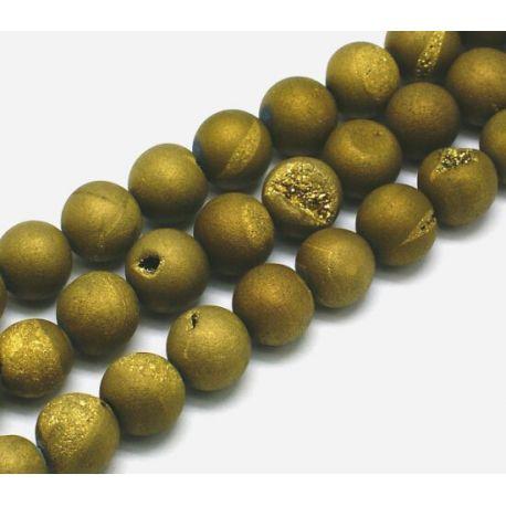 Agato karoliukų gija, samaninės spalvos su aukso dulkėmis, apvalios formos 10 mm, gijoje 38 vnt