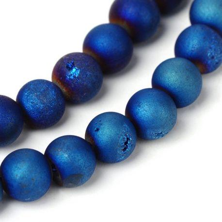 """Agato """"Druzy"""" karoliukų gija, mėlynos-violetinės spalvos 8 mm"""