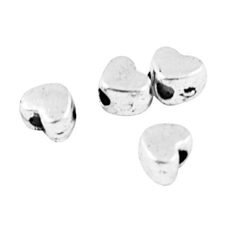 Intarpas skirtas papuošalų gamybai, sidabro spalvos, širdelės formos, dydis 4x4 mm, 10 vnt