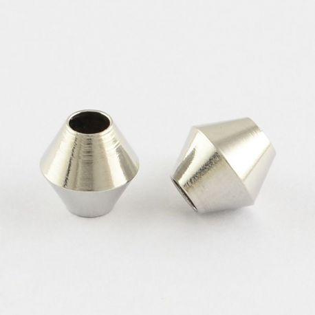 Intarpas skirtas papuošalų gamybai, nikelio spalvos, bicone formos, dydis 6x6 mm, 1 vnt