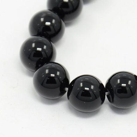 Agato akmens karoliukų gija, juodos spalvos, apvalios formos, matiniai, 10 mm gijoje 37 vnt.