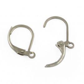 Nerūdijančio plieno kabliukai auskarams, jų gamybai, nikelio spalvos 15x10x1.5 mm, 1 pora