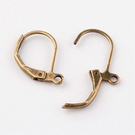 Kabliukai skirti auskarų gamybai, angliškas užsegimas, bronzinės spalvos 15x10 mm