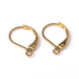 Kabliukai skirti auskarų gamybai, aukso spalvos 15x10 mm