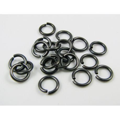 Atviri žiedeliai skirti papuošalų gamybai, apyrankėms, auskarams, vėriniams, juodos spalvos 6 mm