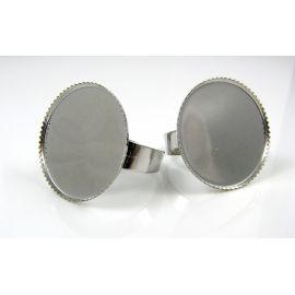 Žiedo pagrindas kamėjai 25 mm, tamsios sidabro spalvos, reguliuojamas dydis