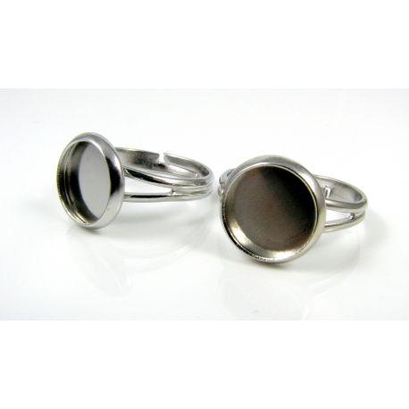 Žiedo pagrindas kamėjai 10 mm, tamsios sidabro spalvos, reguliuojamas dydis