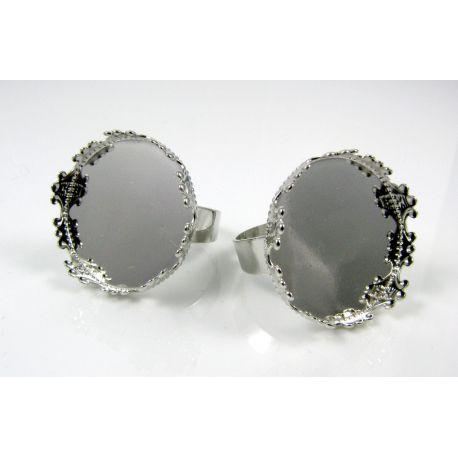 Žiedo pagrindas kamėjai 20 mm, tamsios sidabro spalvos, reguliuojamas dydis