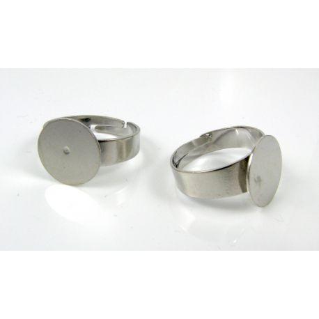 Žiedo pagrindas kabošonui 12 mm, tamsios sidabro spalvos, 1 vnt