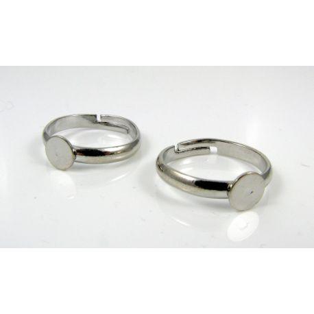 Žiedo pagrindas kabošonui 6 mm, tamsios sidabro spalvos, 1 vnt