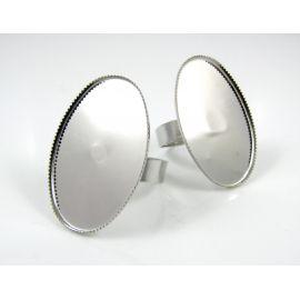 Žiedo pagrindas kamėjai 30x20 mm, tamsios sidabro spalvos, reguliuojamas dydis