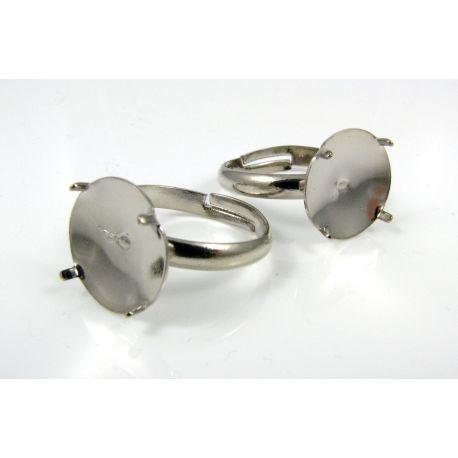 Žiedo pagrindas kamėjai 12 mm, tamsios sidabro spalvos, reguliuojamas dydis