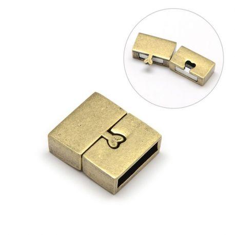 Magnetinis užsegimas skirtas vėriniams, apyrankėms, papuošalams, sendintos bronzinės spalvos, 18x16 mm, 1 vnt.