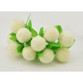 Dekoratyvinė gėlytė - burbuliukas 20 mm, pieno baltumo spalvos 10 vnt.