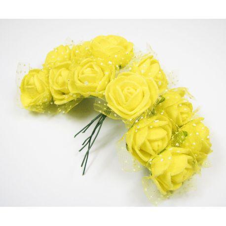 Dekoratyvinė gėlytė su tiuliu 20 mm, geltonos spalvos 12 vnt.