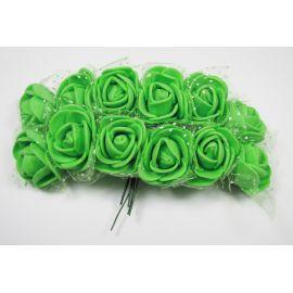 Dekoratyvinė gėlytė su tiuliu 20 mm, žalios spalvos 12 vnt.