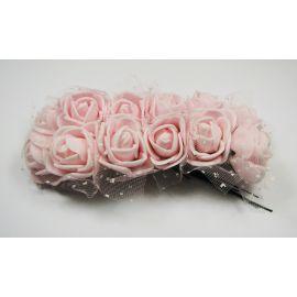 Dekoratyvinė gėlytė su tiuliu 20 mm, šviesiai rožinės spalvos 12 vnt.