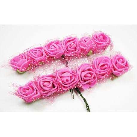Dekoratyvinė gėlytė su tiuliu 20 mm, ryškiai rožinės spalvos 12 vnt.