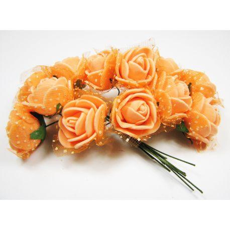 Dekoratyvinė gėlytė su tiuliu 20 mm, oranžinės spalvos 12 vnt.
