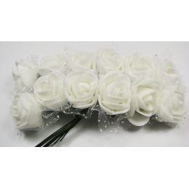 Dekoratyvinė gėlytė su tiuliu 20 mm, baltos spalvos 12 vnt.