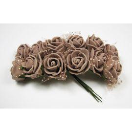 Dekoratyvinė gėlytė su tiuliu 20 mm, rudos spalvos 12 vnt.