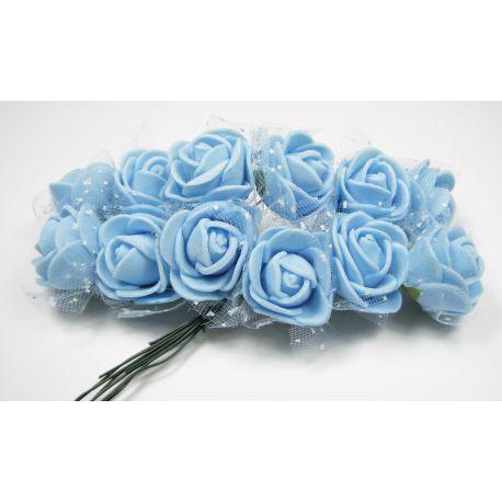Dekoratyvinė gėlytė su tiuliu 20 mm, ryškiai žydros spalvos 12 vnt.