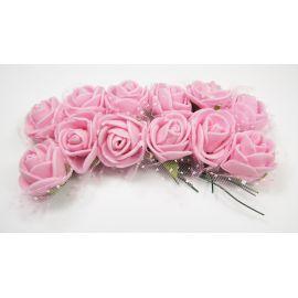 Dekoratyvinė gėlytė su tiuliu 20 mm, rožinės spalvos 12 vnt.