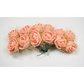 Dekoratyvinė gėlytė su tiuliu 20 mm, rausvai oranžinės spalvos 12 vnt.