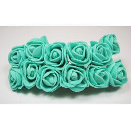Dekoratyvinė gėlytė 20 mm, žaliai žydros spalvos 12 vnt.