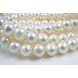 Gėlavandenių perlų gija, A klasės, baltos spalvos, netaisyklingos apvalios formos 9-10 mm