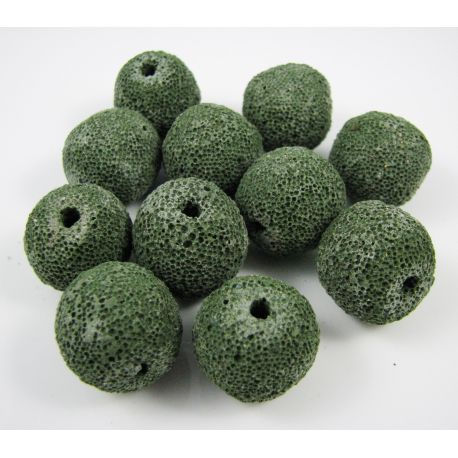 Lavos karoliukai, žalios spalvos, apvalios formos, 18 mm