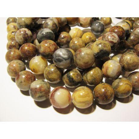 Agato karoliukų gija, baltos, gelsvos, pilkos, rausvos spalvų, apvalios formos 12 mm, gijoje 16 vnt