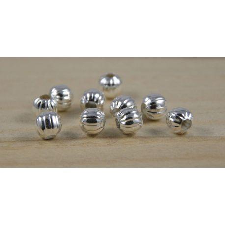 Intarpas sidabro spalvos, apvalios formos, briaunuotas dydis 6 mm, 10 vnt